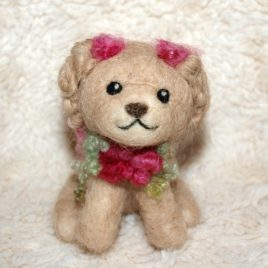 Felted Puppy with Roses