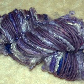 Handspun Bulky Suri Art Yarn in Purple (9 ounces/100 yds)